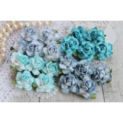 Букетик коттеджных роз, оттенки синего, 4 розочки разного цвета