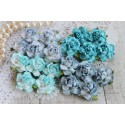Букетик коттеджных роз, оттенки синего, 25мм, 4 розочки разного цвета