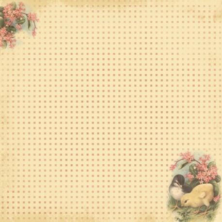 Бумага для скрапбукинга 30,5х30,5 см 180 гр/м двусторон Весенний Праздник Светлый Праздник