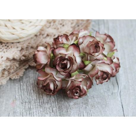 Дикая роза, цвет белый с коричневой окантовкой, 3см, 1 цветок