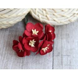 Цветы вишни, цвет бордовый, 25мм, 1 цветок