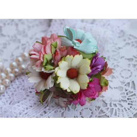 Букетик хризантем, разноветный микс, 45мм, 10 цветочков разного цвета