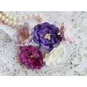 Букетик магнолий, цвета пурпурно-лиловые, 40мм, 5 цветочков разных цветов