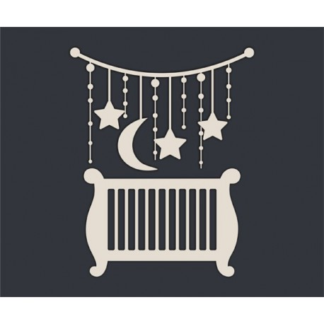 Чипборд Кроватка и подвеска (размер набора)