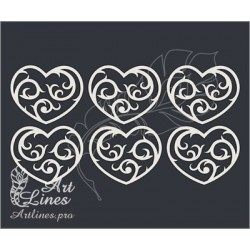 Чипборд Набор сердечек №2 (размер 1 сердечка 3х3,6см)