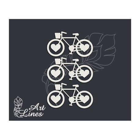Чипборд Набор велосипедов с сердечками
