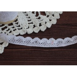 Тесьма кружевная, хлопок, 1.5 см, цвет белый, 1 м