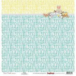 Бумага для скрапбукинга 30,5х30,5 см 190 гр/м, односторон Лес Чудес Пушистый друг, (1шт)