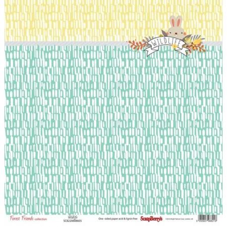 Бумага для скрапбукинга 30,5х30,5 см 190 гр/м, односторон Лес Чудес Пушистый друг, (10 шт/уп)