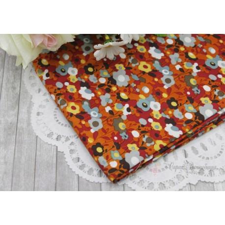 Ткань Цветы на бежевом, х/б, 50*72см.