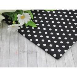 Ткань Крупный белый горох на черном, х/б, 50*72см.
