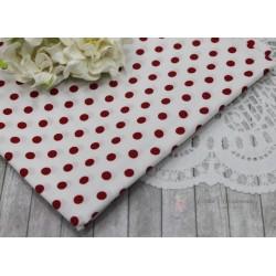 Ткань Крупный красный горох на белом, х/б, 50*72см.