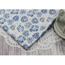 Ткань Голубые цветы и сердечки, х/б, 51*73см.