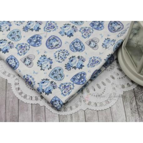 Ткань Мелкий цветочек на синем, х/б, 50*72см.