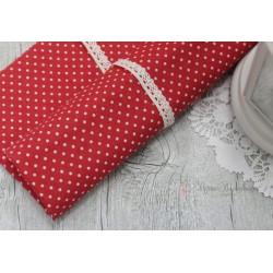 Ткань Белый горошек на красном, 50*77см.