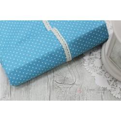 Ткань Белый горошек на голубом, 50*77см.