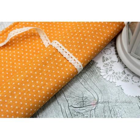 Ткань Белый горошек на голубом, 50*72см.
