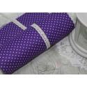 Ткань Белый горошек на фиолетовом, 50*77см.