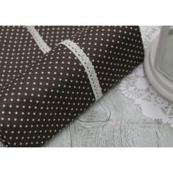 Ткань Белый горошек на коричневом, 50*77см.