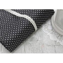 Ткань Белый горошек на черном, 50*77см.