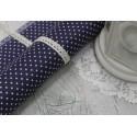Ткань Белый горошек на темно-синем, 50*77см.