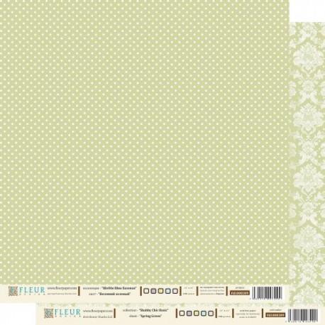 """Лист бумаги для скрапбукинга """"Весенний Зеленый"""" , коллекция """"Шебби Шик Базовая"""", 30 на 30 плотность 190 гр"""
