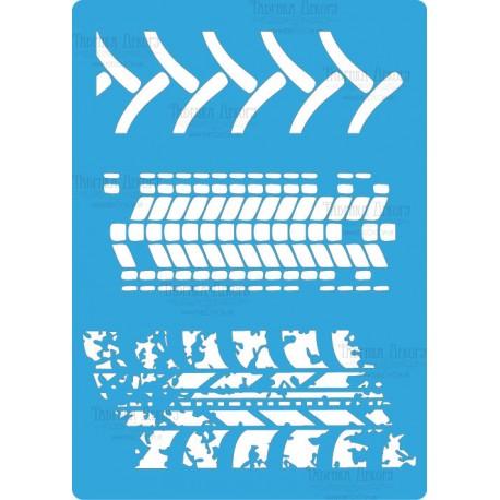 Трафарет «Следы шин 2», 20*15см