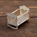 """Чипборд 3D """"Кроватка сердечко"""",  5 элементов, 4.5*6*6см"""
