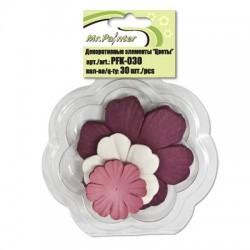 Набор бумажных цветов, 02 бордово-розовый, 30шт.