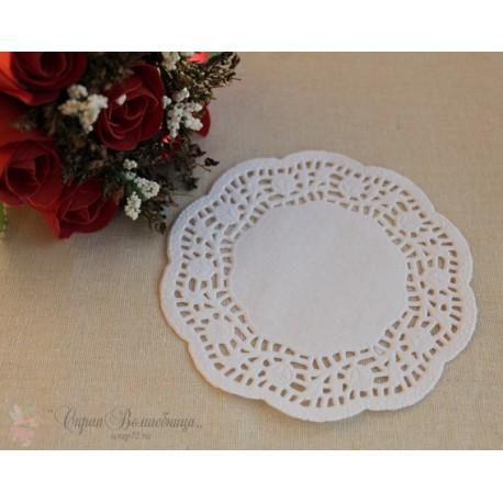 Салфетка ажурная с розами, цвет белый, 12см, 1шт.
