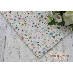 Хлопок Полевые цветы на белом фоне, 50*40см