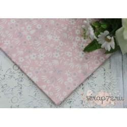 Хлопок Полевые цветы на розовом фоне, 50*40см