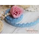 Декоративная тесьма на клеевой основе, цвет голубой, 15мм
