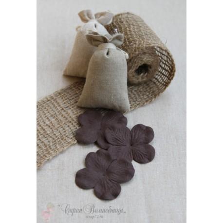 Цветы гортензии темно-коричневые, 4cм, 10шт.