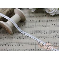Тесьма кружевная, хлопок, 0,6 см, цвет белый, 1 м