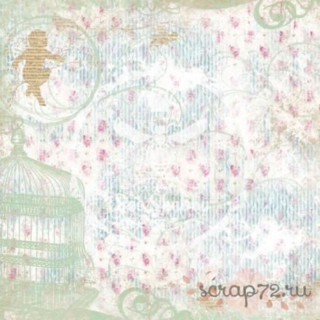 """Лист бумаги для скрапбукинга №4, коллекция """"MAGIC GARDEN"""", 30.5 на 30.5, плотность 190 гр"""
