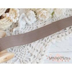 Лента декоративная, ПЭ, 2,5 см, цвет бежево-коричневый, 1 м