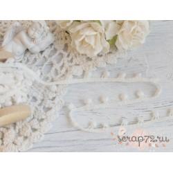 Лента декоративная с помпонами, хлопок, 1 см, цвет бежевый, 1 м