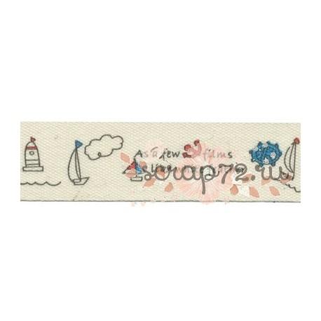 """Тесьма декоративная """"Gamma"""" с рисунком """"Повелитель морей"""", сине-красный, 16мм*3м"""