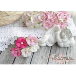 Букетик лютиков, белые и розовые тона, 1.5см, 5 шт.