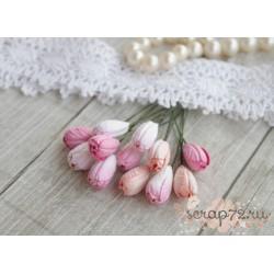 Букетик тюльпанов, 10мм, нежно-розовые оттенки, 4шт.