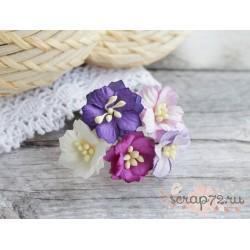 Букетик из цветов яблони, фиолетовые тона, 2см, 5 цветочков
