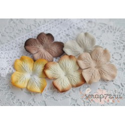 Набор гортензий, желто-коричневые тона, 5 цветочков