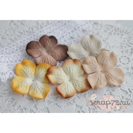 Цветы гортензии, цвет бирюзовый, 10 цветочков