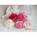 Букетик диких роз, оттенки розового, 3см, 5 цветочков