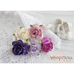 Букетик диких роз, оттенки фиолетового, 3см, 5 цветочков