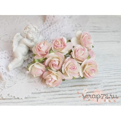 Букетик диких роз, оттенки синего, 3см, 5 цветочков
