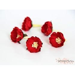 Цветок шиповника, цвет красный,  2см, 1 цветок