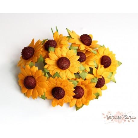 Ромашка, цвет оранжевый, 2,5 см, 1шт