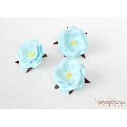 Дикие розы, цвет Светло-бирюзовый, 4.5см, 1шт